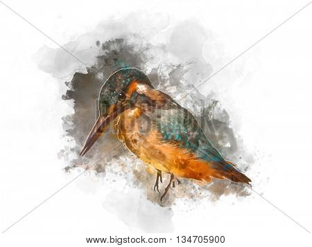 Abstract painting of single little brown and black bird with long beak and dark cloudy background