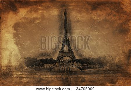 Artistic Rendering of Eiffel Tower on Sepia Aged Paper in Line Drawing Style with Copy Space, Paris, France