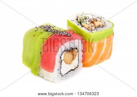 Uramaki maki sushi, two rolls isolated on white. Salmon with philadelphia, shrimp, avocado, eel and poppy seeds