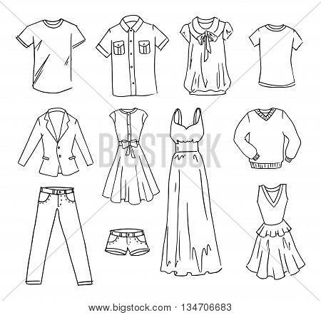 Fasihon clothes sale hand drawn vector set
