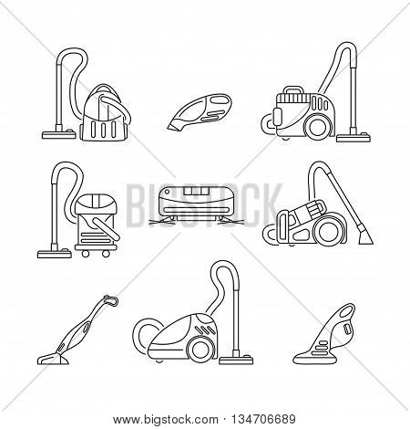 set of vacuum cleaners icon in line style. vector illustration isolated on a white background. linear hoover sign. set of different vacuum cleaner