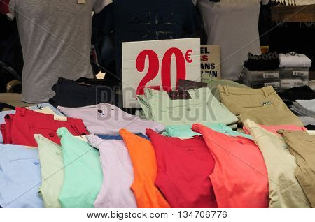 Aix en Provence France - april 21 2016 : trousers at the cours Mirabeau market