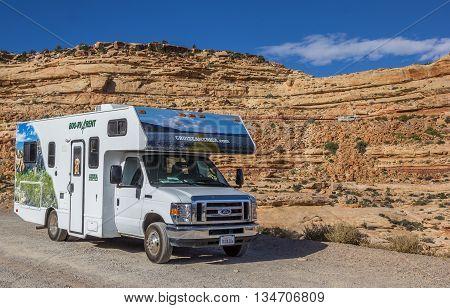 VALLEY OF THE GODS, UT, USA - OCTOBER 4, 2015: Motorhome on the moki dugway in Arizona, USA