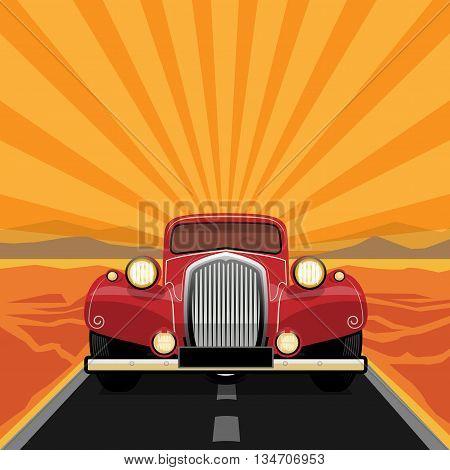 Vintage retro car on the road, vector illustration