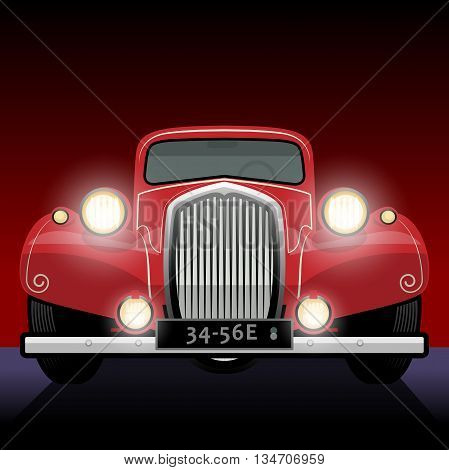 Vintage retro car on red background, vector illustration
