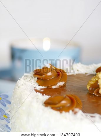 tasty cake with a cream for breakfast