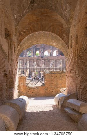 ROME, ITALY - APRIL 8, 2016: Inside view of Coliseum, galleries