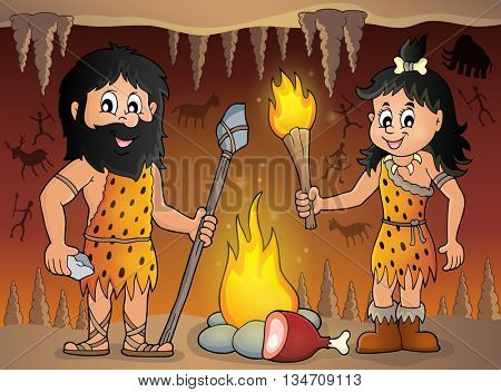 Cave people theme image 1 - eps10 vector illustration.