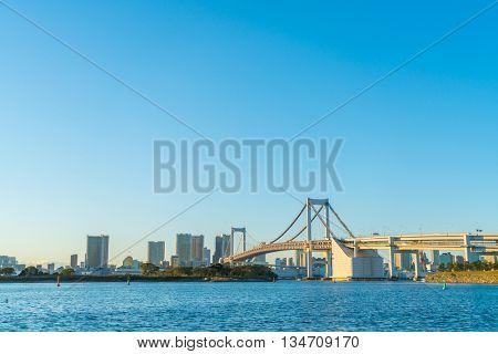 Tokyo skyline with Tokyo rainbow bridge