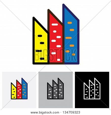 Colorful Commercial Buildings, Offices, Apartments Vector Logo Icon
