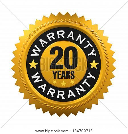 20 Years Warranty Sign isolated on white background. 3D render