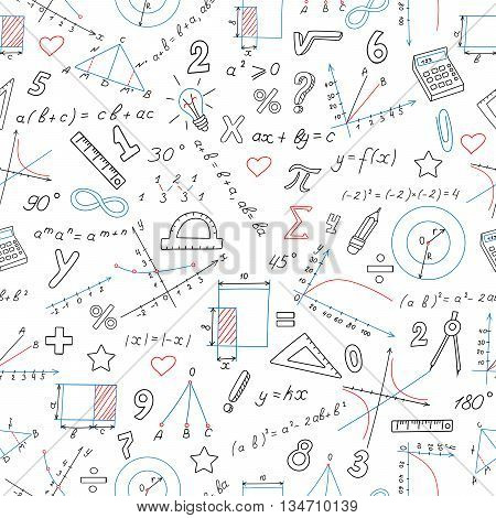 Seamless background with formulas and charts on the topic of mathematics and education colored marker on white background