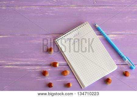 Open paper notebook, pen, hazelnuts on lilac wooden background. A notepad with words My diet plan. Slimming concept. Lifestyle