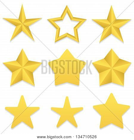 Set of nine different golden five point stars. Four stars with rounded corners. One star with a hole. Vector, eps 10.