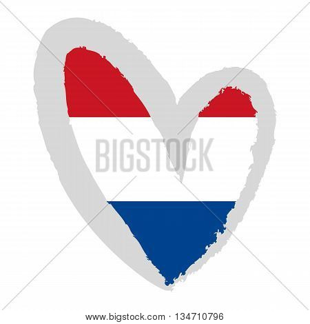 Dutch flag. Vector Illustration. The flag of the Netherlands in the shape of heart.