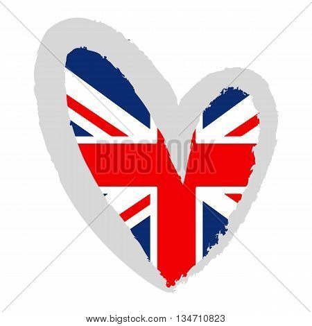 British flag. Vector Illustration. UK flag in a heart shape.