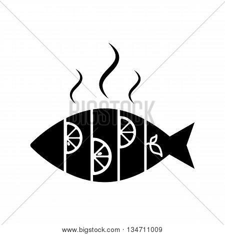 Hot Fish With Lemon Icon Isolated