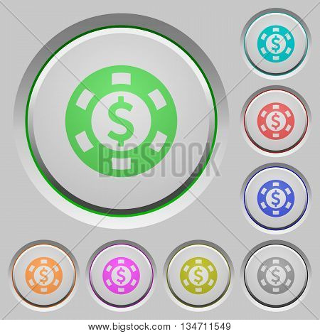Set of color Dollar casino chip sunk push buttons.