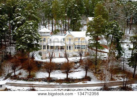 Snowy house in the forest snowy forest nature landscape