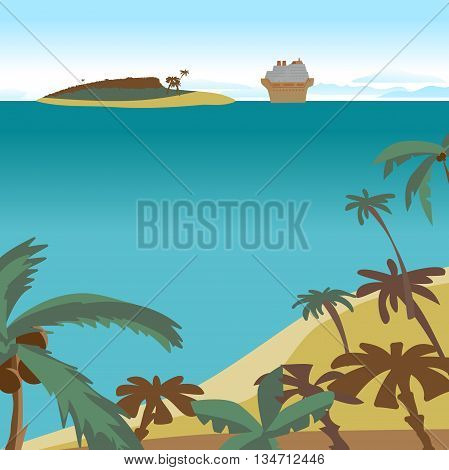 Summer beach concept background with space for text. Sea landscape summer beach palms island cruise ship. Vector cartoon flat illustration. Beach sea island and a cruise liner in the distance