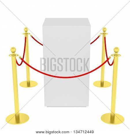 Golden fence, stanchion with red barrier rope, isolated on white background. 3D illustration
