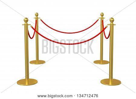 Four poles golden barricade isolate on white background. 3D illustration