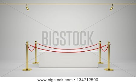 Empty showcase with tiled stand barriers for exhibit. Gray background. 3D illustration