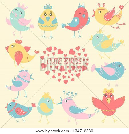 Set of cute birds in cartoon style. Funny little birds. Fauna symbol. Perfect for greeting cards design children's clothing.
