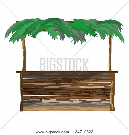 Open arbor bungalow on a beach with wooden tableand a roof of palm branches. Tropical resort. Flat cartoon vector illustration isolated