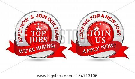 Job openings label / stamp for recruitment agencies and for companies that are looking for new personnel / employees