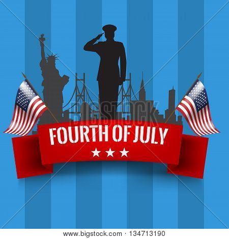 Fourth of July. Independence day background with red ribbon and waving USA flag. Vector illustration