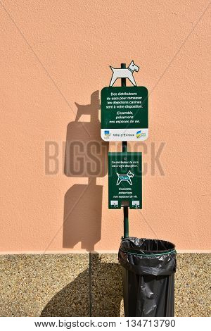 Evreux France - august 10 2015 : bag distributor for dog excrement