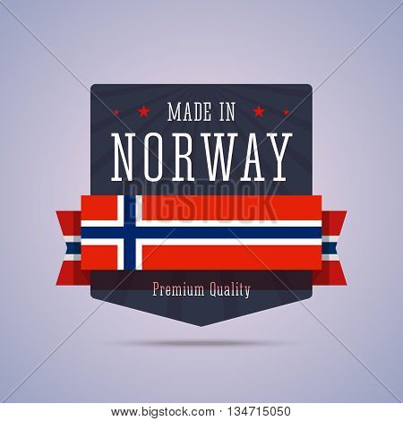 Made in Norway badge. Vector illustration in flat style with Norway flag.