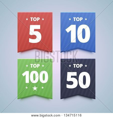 Top rating badges. 5, 10, 50 and top 100 ratings. Vector illustration in flat style.