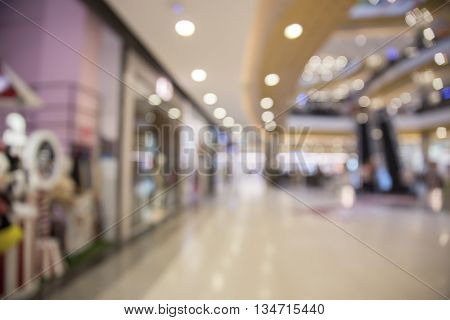 Shopping Mall For Use As Shopping Concept, Blur Background With Bokeh Light
