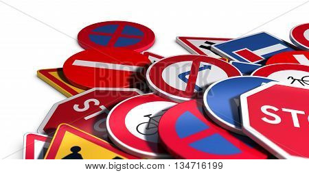 3D illustration of many roadsigns over white background