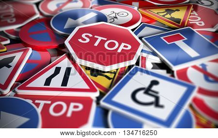 Perspetive view of numerous french traffic road signs. Concept image for background 3D illustration