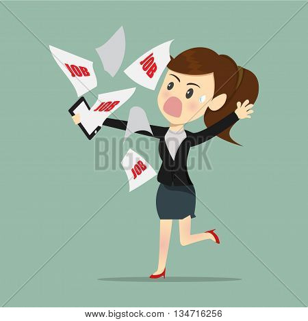 Business women busy and tried with e-mail work a receive from boss.