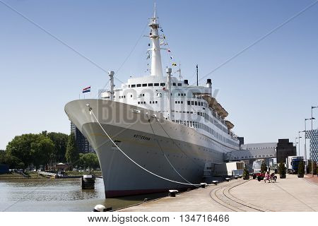 Rotterdam The Netherlands - June 6 2016: SS Rotterdam moored in the Katendrecht district in Rotterdam. In use as hotel and restaurant