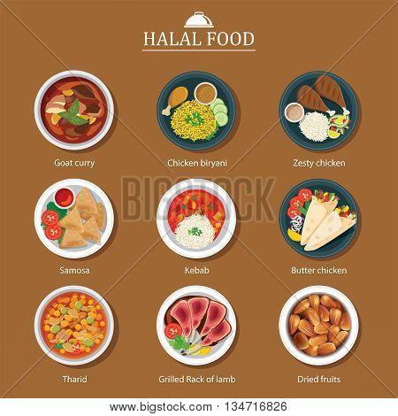 set of halal food flat design for web and print