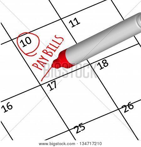 vector red pen mark payment bills on calendar.