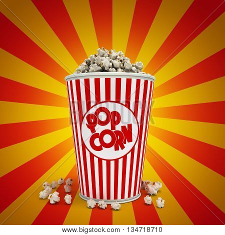 Popcorn in striped bucket 3d render backgrownd