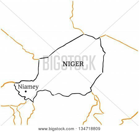 Niger country with its capital Niamey in Africa hand-drawn sketch map isolated on white
