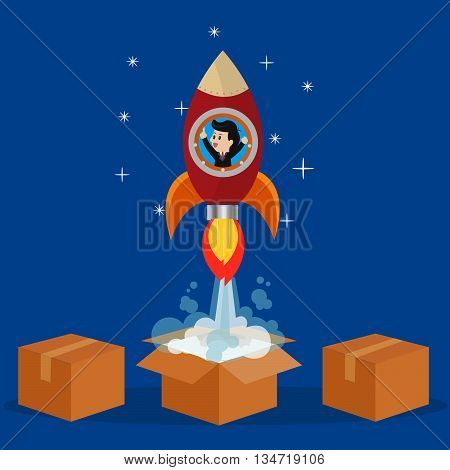 Businessman in rocket to soar out of box towards the future.