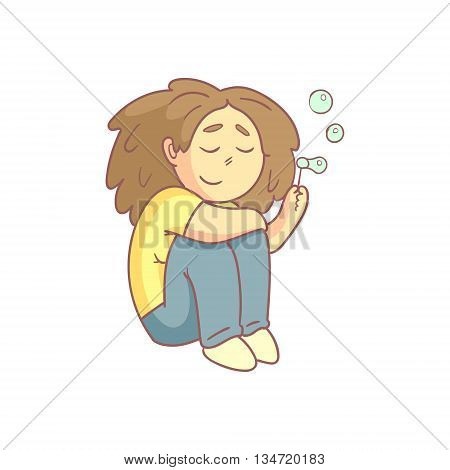Woman Blowing Soap Bubbles Flat Outlined Pale Color Funny Hand Drawn Vector Illustration Isolated On White Background