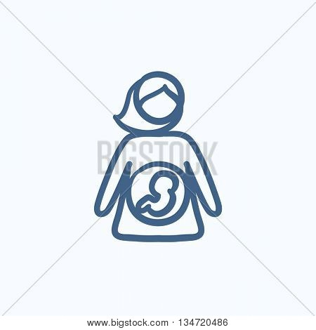 Baby fetus in mother womb vector sketch icon isolated on background. Hand drawn Baby fetus in mother womb icon. Baby fetus in mother womb sketch icon for infographic, website or app.