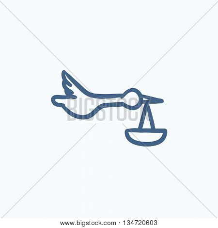 Baby basket with stork vector sketch icon isolated on background. Hand drawn Baby basket with stork icon. Baby basket with stork sketch icon for infographic, website or app.