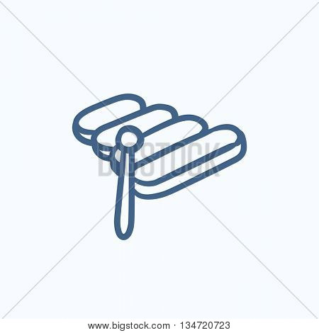 Xylophone vector sketch icon isolated on background. Hand drawn Xylophone icon. Xylophone sketch icon for infographic, website or app.