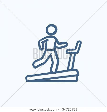 Man running on treadmill vector sketch icon isolated on background. Hand drawn Man running on treadmill icon. Man running on treadmill sketch icon for infographic, website or app.