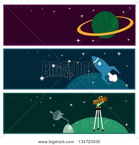 Scientific banners with flat astronomic symbols. Satellite, earth, stars, observatory.